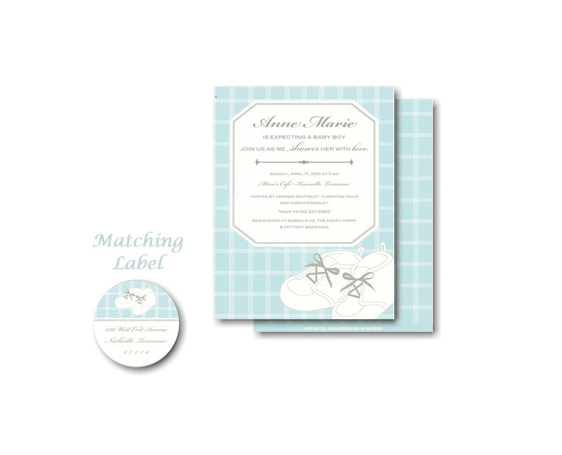 Aqua Baby Shoes Baby Shower Invitation
