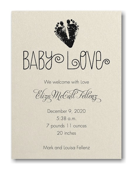 Baby Love Footprints Birth Announcement