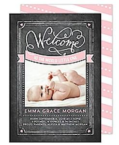 Baby Welcome Calligraphy Pink Birth Announcement