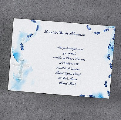 Blue Rosary First Communion Invitation