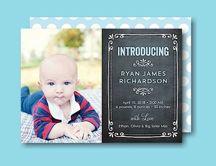 Chalkboard Swirls Blue Birth Announcement