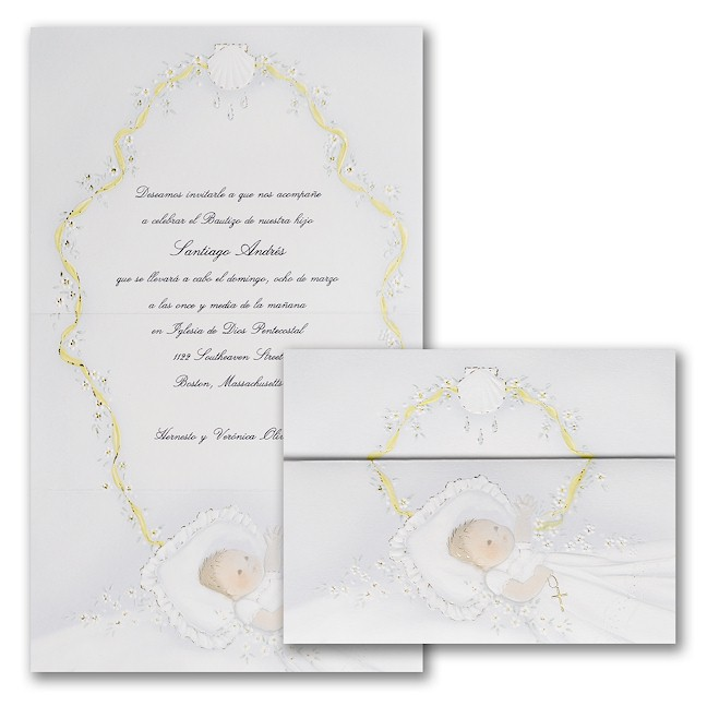 First Blessings in Blue Christening Invitation