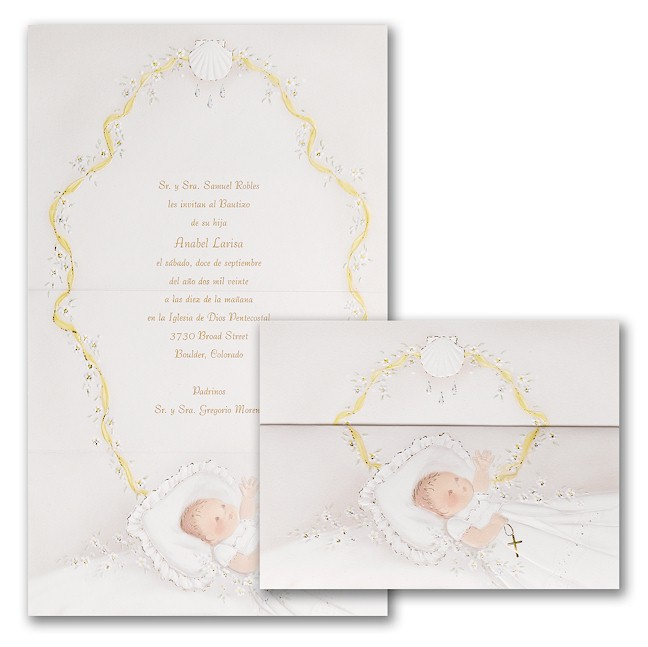 First Blessings in Pink Christening Invitation