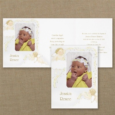 Golden Cherubs Baptism Invitation