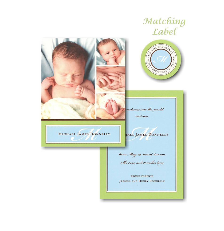 Green & Blue Border Photo Birth Announcement