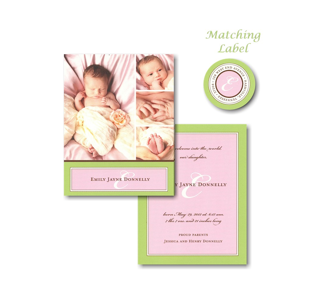 Green & Pink Border Photo Birth Announcement