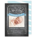 Baby Welcome Calligraphy Blue Birth Announcement