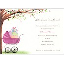 Beautiful Bassinet Pink Baby Shower Invitation