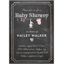 Bunny Chalkboard Pink Baby Shower Invitation