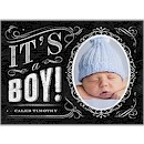 Chalkboard Boy Photo Birth Announcement