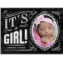 Chalkboard Girl Photo Birth Announcement