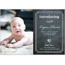 Chalkboard Heart Blue Birth Announcement