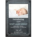 Chalkboard Heart Dots Blue Birth Announcement