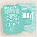 Chevron Shower in Lagoon Baby Shower Invitation