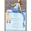 Expecting a Big Gift Blue/Brunette Invitation