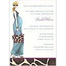 Fashionable Mom Blue/Blonde Shower Invitation