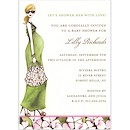Fashionable Mom Green/Blonde Shower Invitation