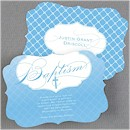 God's Precious Gift in Blue Baptism Invitation