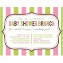 Pink & Green Stripes Baby Shower Invitation