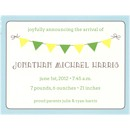 Playful Banner in Blue Photo Birth Announcement