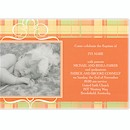 Precious Plaid in Tangerine Birth Announcement