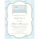 White Floral Damask on Blue Baby Shower Invitation