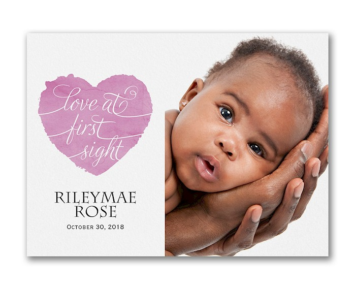 Love at First Sight Photo Birth Announcement