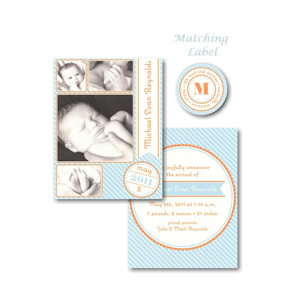 Photo Frames on Blue Birth Announcement