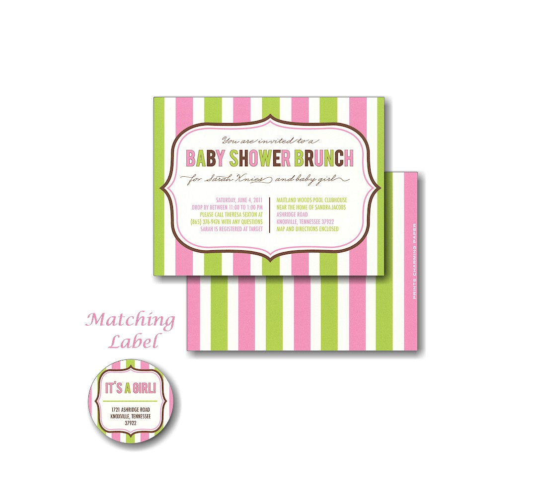 pink  green stripes baby shower invitation, Baby shower