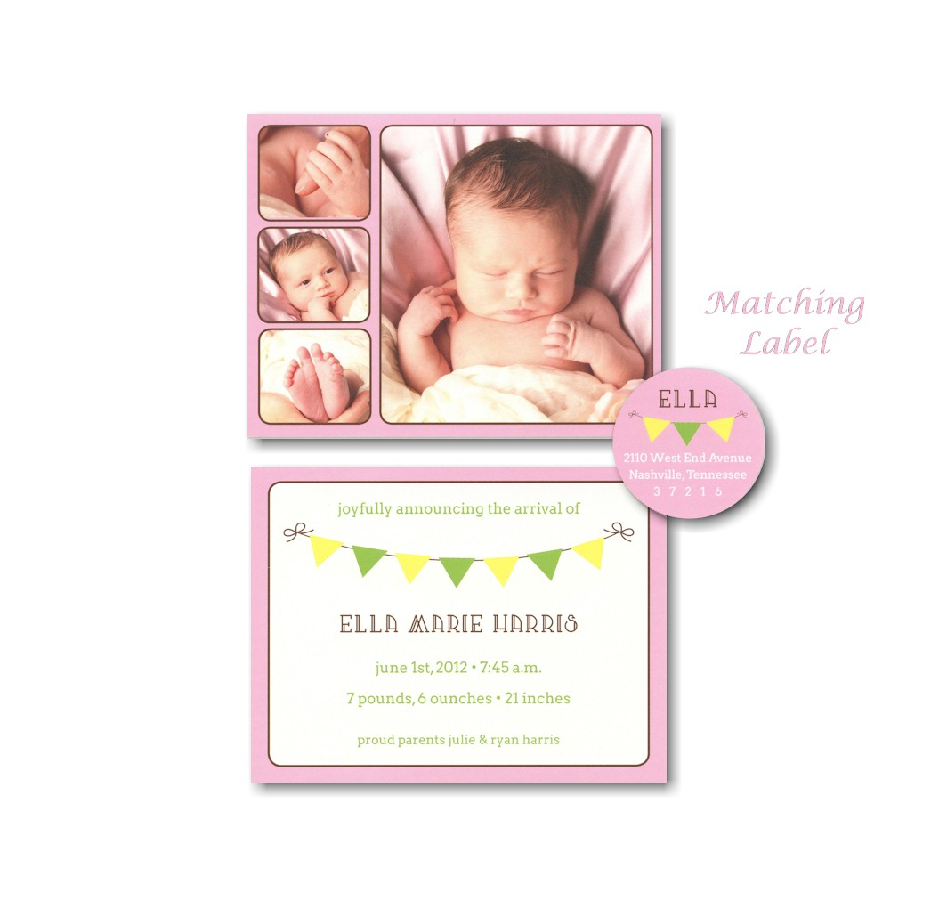 Playful Banner in Pink Photo Birth Announcement