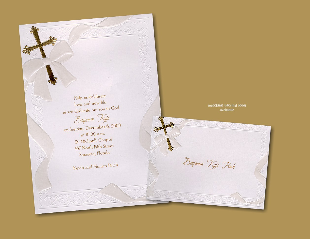 Help Us Celebrate in Gold Baptism Invitation