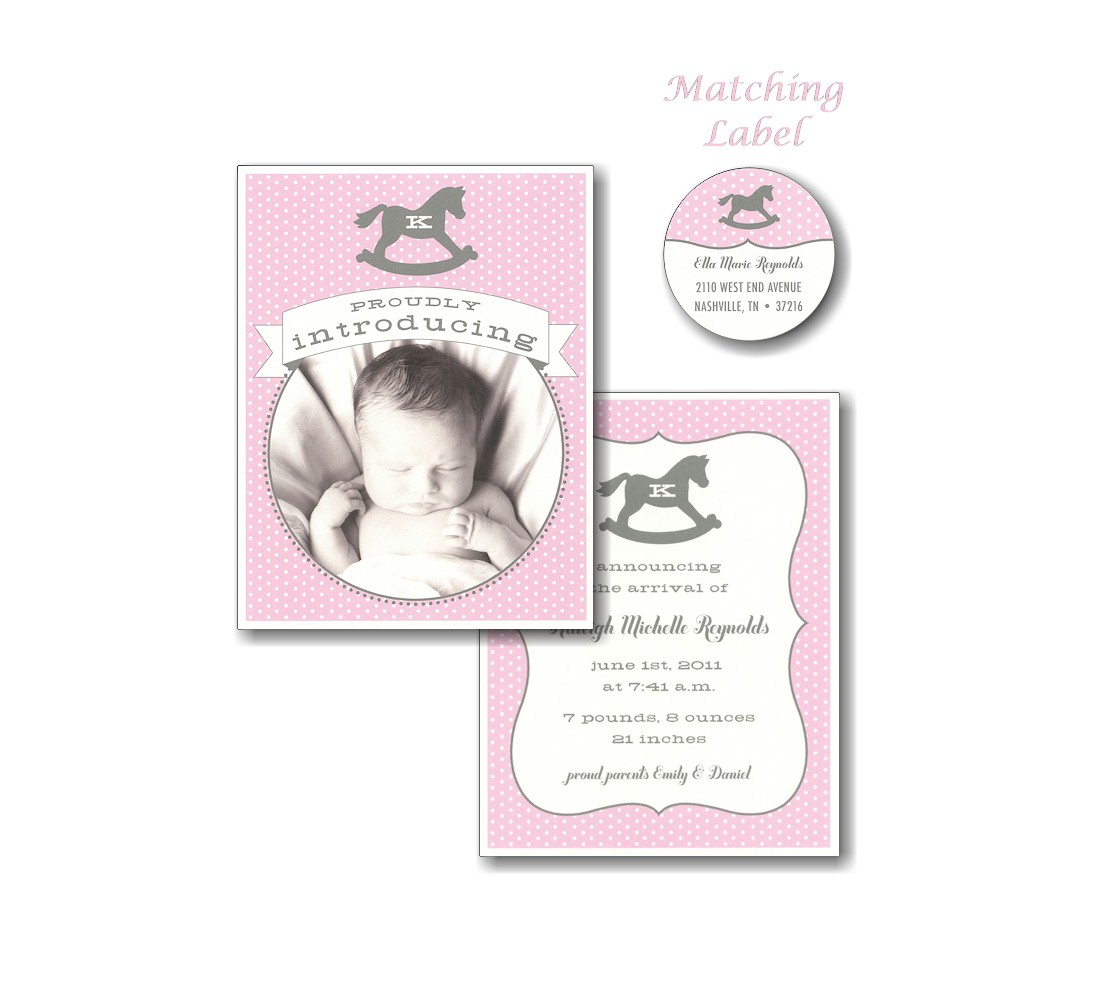 Rocky Horse Pink Dots Photo Birth Announcement