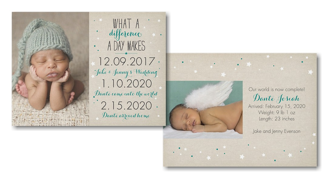 What a Difference Photo Birth Announcement